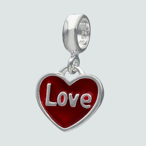 Colgante Charm Corazón Love Esmaltado
