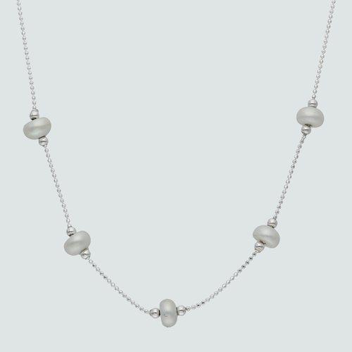 Collar Esferas y Perlas Achatadas