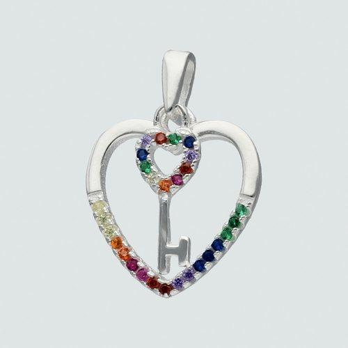 Colgante Corazón y Llave Circones Multicolor