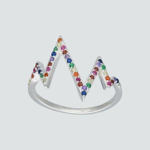 Anillo Diagrama de Rayos Circones Multicolor