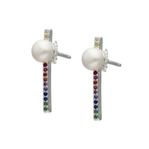 Aro Palito Circones Multicolor y Perla