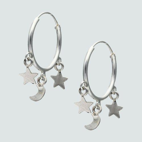 Argolla con Estrellas y Media Luna 18 mm
