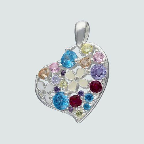 Colgante Corazón Flores Circones Multicolor