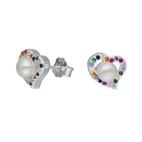 Aro Corazón con Perla y Circones Multicolor