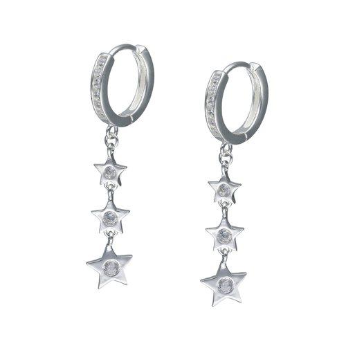 Aro Argolla Huggie con Estrellas y Circones 13 mm
