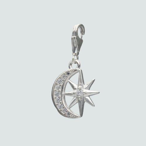 Colgante con Broche Media Luna Estrella y Circones