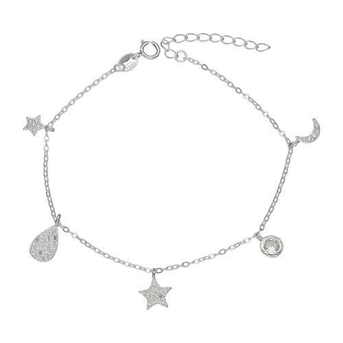 Pulsera Media Luna Estrellas y Circones
