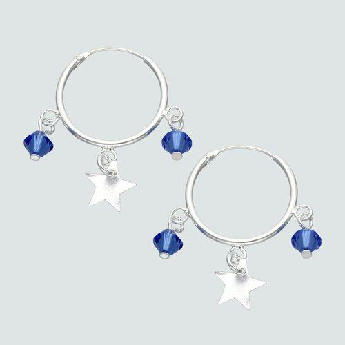 Aro Argolla Hecho con Cristal Swarovski® Azul y Estrellas 16 mm