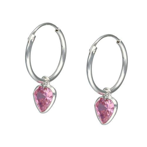 Aro Argolla Corazón Circón Rosa Francia 14 mm