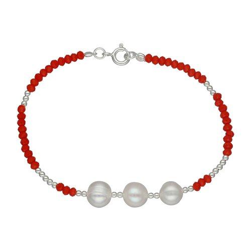 Pulsera Esferas Cristales Naranja y Perlas Desigual