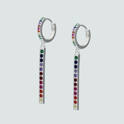 Argolla Huggie Palito Circones Multicolor 14 mm