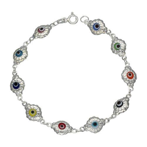 Pulsera Ojos Turco Cristales Multicolor