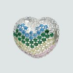 Colgante Charm Separador Corazón Circones Multicolor
