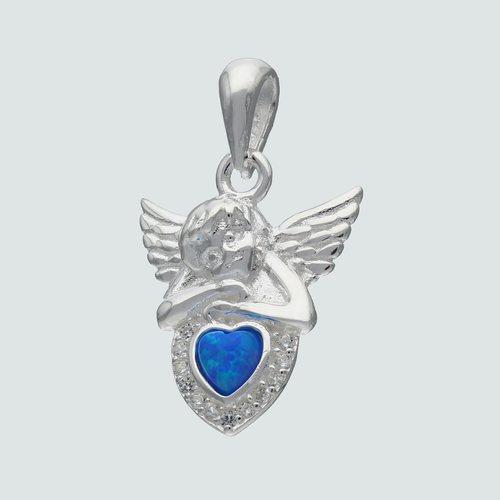 Colgante Ángel de la Guarda Corazón con Opalo y Circones