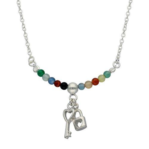 Collar Choker Ajustable Cristales Multicolor Llave y Candado