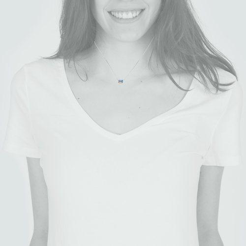 Collar Ajustable Cubo Hecho con Cristal Swarovski® Tornasol