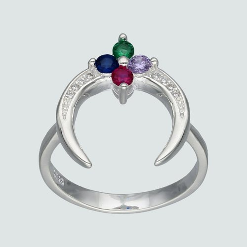 Anillo Media Luna Flor Circones Multicolor