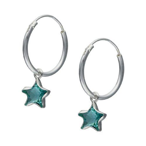 Aro Argolla Estrella Circón Celeste 14 mm