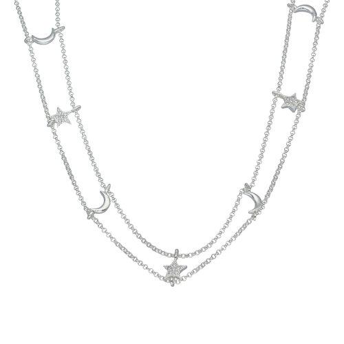 Collar Ajustable Choker Estrellas con Circones y Media Luna