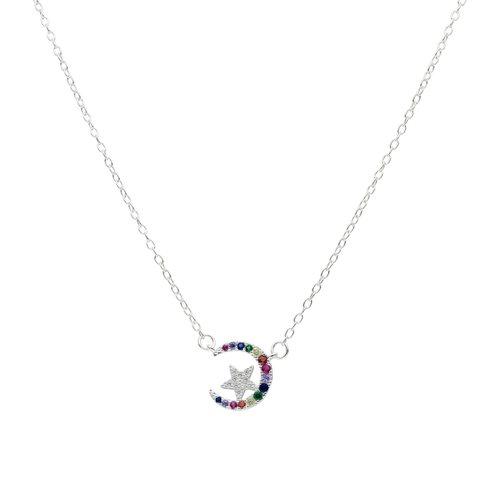 Collar Media Luna Estrella Circones Multicolor