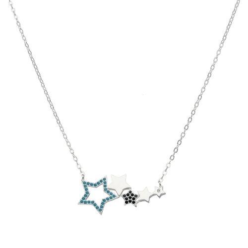 Collar Estrellas Circones Ónix y Celeste