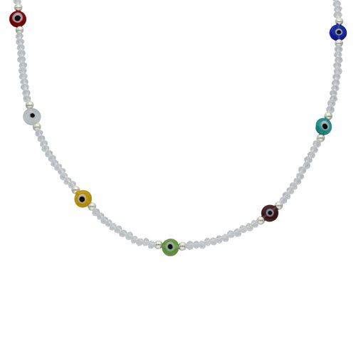 Collar Choker Ajustable Cristales Ojo Turco