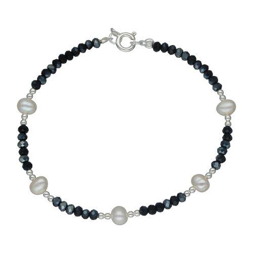 Pulseras Cristales Negros y Perlas Desiguales