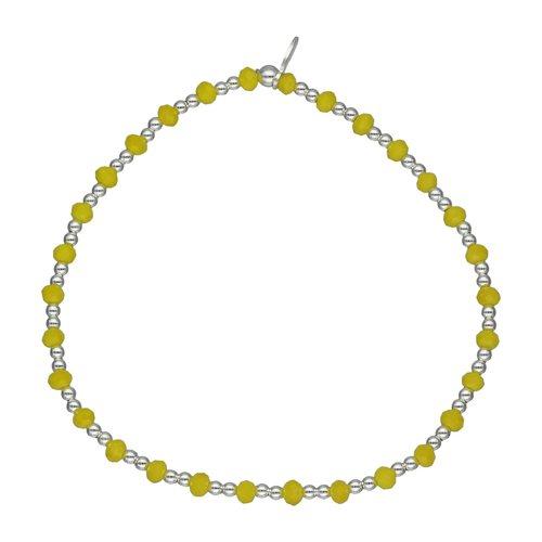 Pulsera Elastico Esferas y Cristales Amarillos