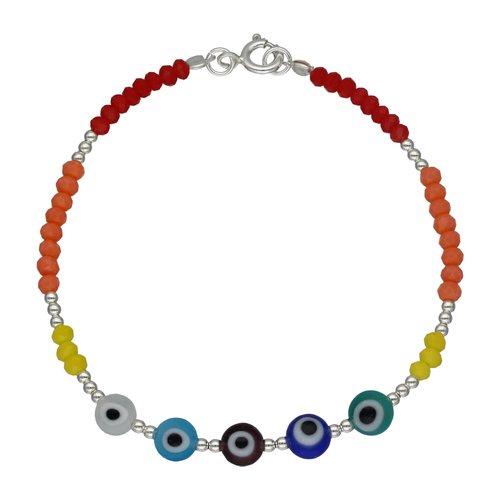 Pulsera Cristales y Ojos Turcos Multicolor