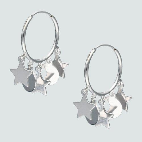 Aro Argolla Media Luna Estrellas 16 mm
