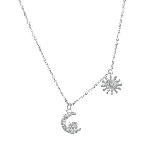 Collar Sol y Media Luna con Circones