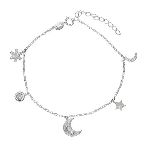 Pulsera Media Luna Estrella Flor con Circones