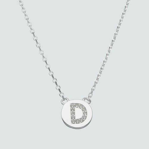 Collar Circulo Letra D con Circones