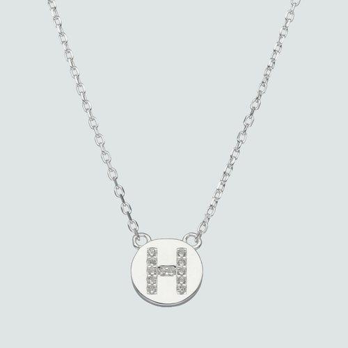 Collar Circulo Letra H con Circones