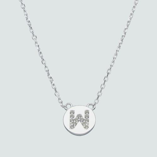 Collar Circulo Letra W con Circones