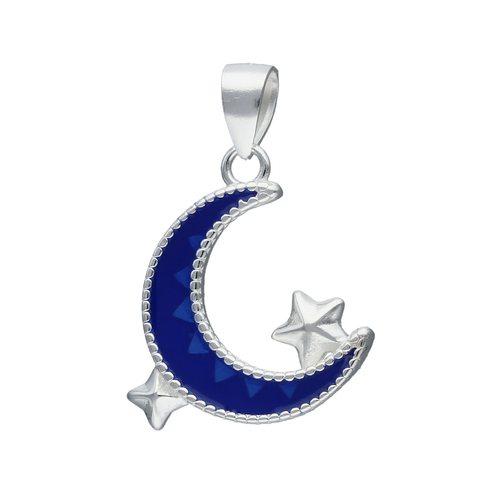 Colgante Media Luna Esmaltada con Estrellas