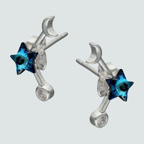 Aro Estrella Hecho con Cristal Swarovski® Azul