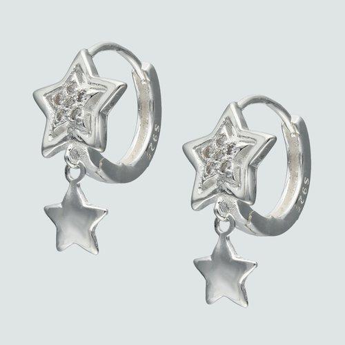Aro Argolla Huggie Estrellas con Circones 12 mm