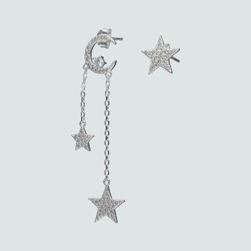 Aro Desigual Estrellas y Media Luna con Circones
