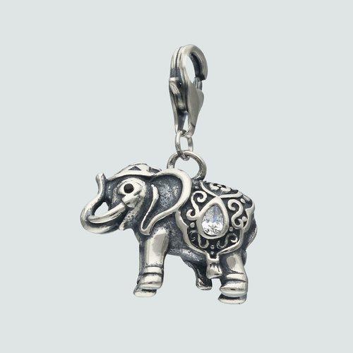 Colgante con Broche Elefante Circón