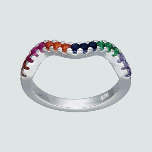Anillo Ondulado Cintillo Circones Multicolor