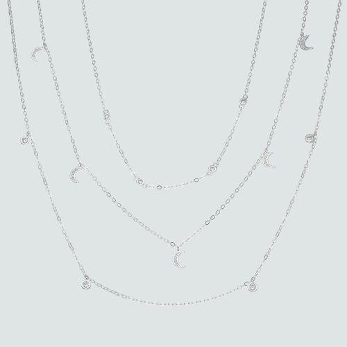 Collar Triple Media Luna con Circones