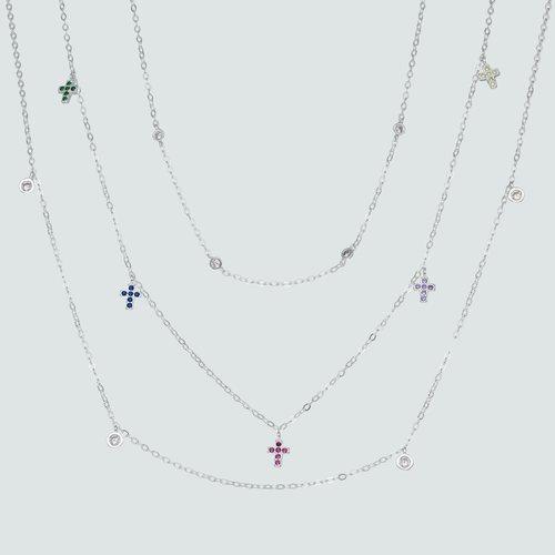 Collar Triple Cruces Circones Multicolor