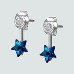 Aro Circón y Estrella con Cristal Azul