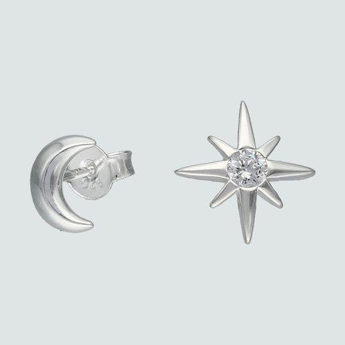 Aro Desigual Media Luna y Estrella Fugaz con Circon