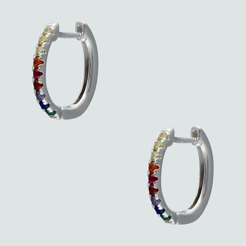 Aro Argolla Huggie con Circones Multicolor 14 mm