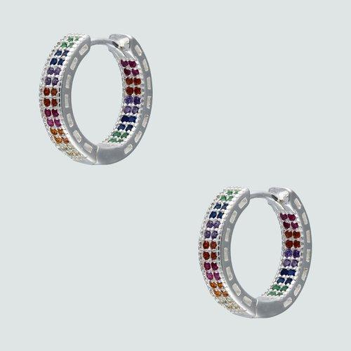 Aro Argolla Huggie Circones Multicolor 14 mm