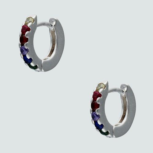Aro Argolla Huggie Circones Multicolor 10 mm