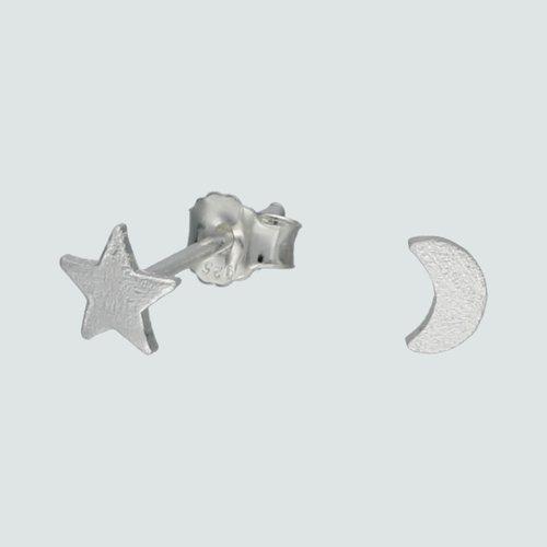 Aro Desigual Estrella y Media luna Satinada