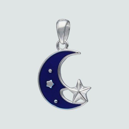 Colgante Media Luna y Estrella Esmaltada